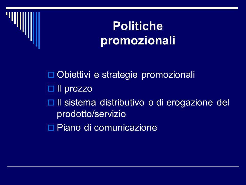 Politiche promozionali Obiettivi e strategie promozionali Il prezzo Il sistema distributivo o di erogazione del prodotto/servizio Piano di comunicazio