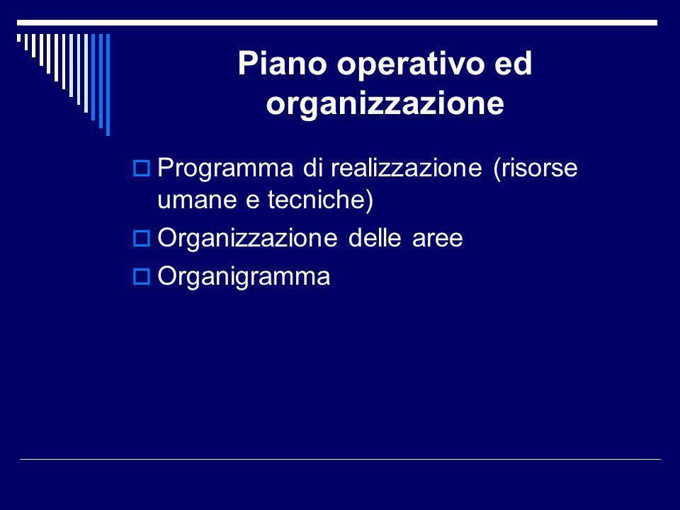 Piano operativo ed organizzazione Programma di realizzazione (risorse umane e tecniche) Organizzazione delle aree Organigramma