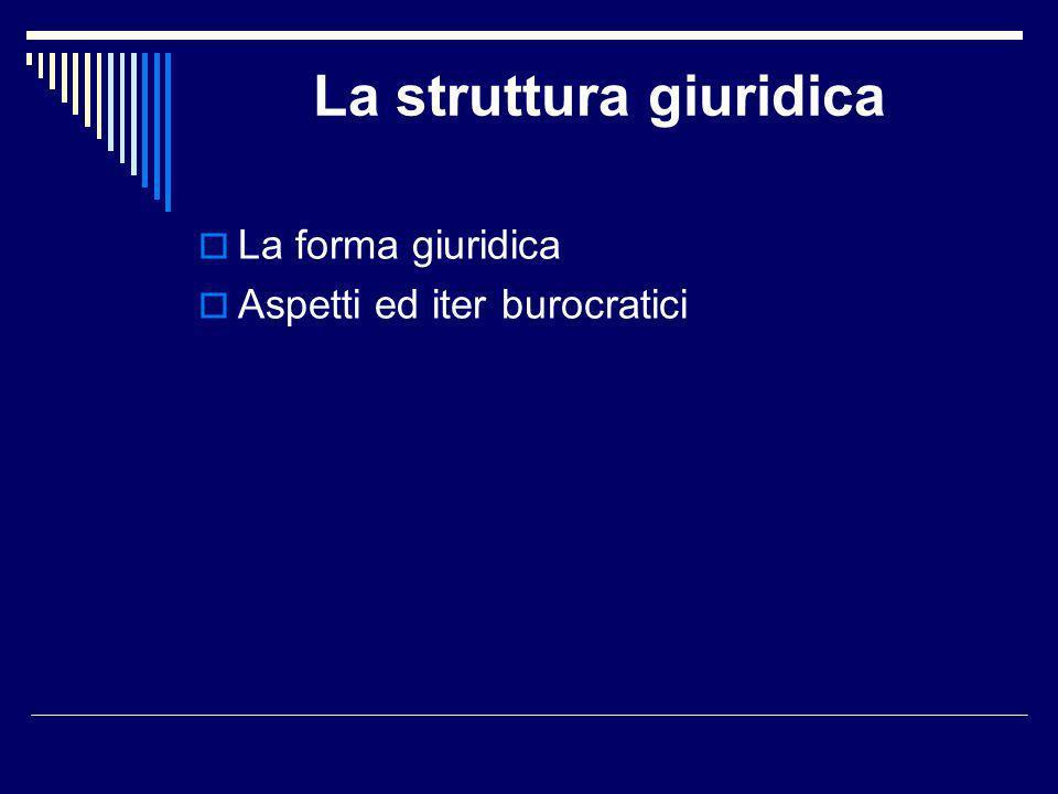 La struttura giuridica La forma giuridica Aspetti ed iter burocratici