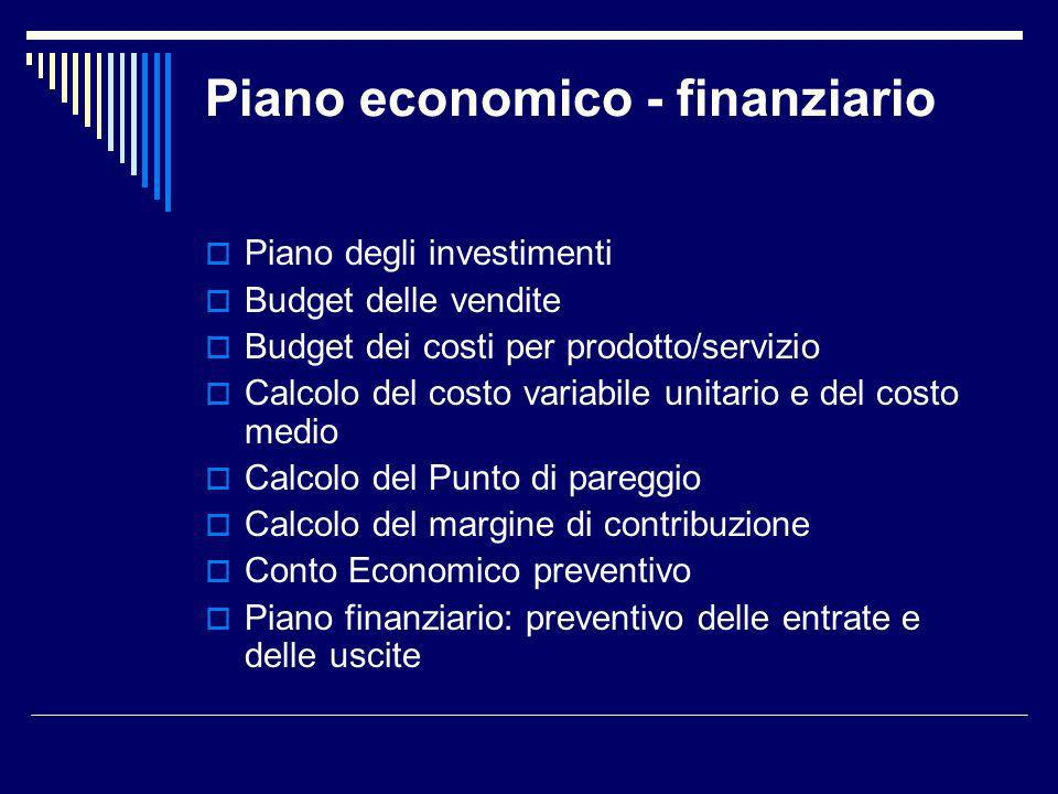 Piano economico - finanziario Piano degli investimenti Budget delle vendite Budget dei costi per prodotto/servizio Calcolo del costo variabile unitari
