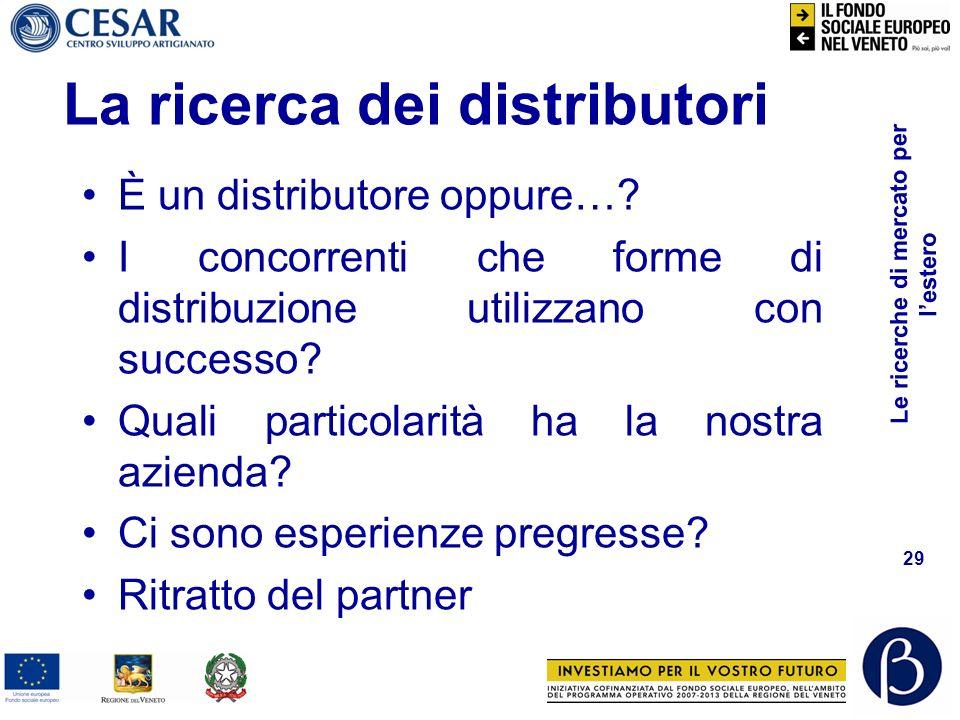 Le ricerche di mercato per lestero 28 La ricerca dei distributori Limpresa e il suo marketing SettoreTerritorio