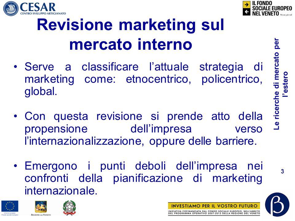 Le ricerche di mercato per lestero 3 Revisione marketing sul mercato interno Serve a classificare lattuale strategia di marketing come: etnocentrico, policentrico, global.