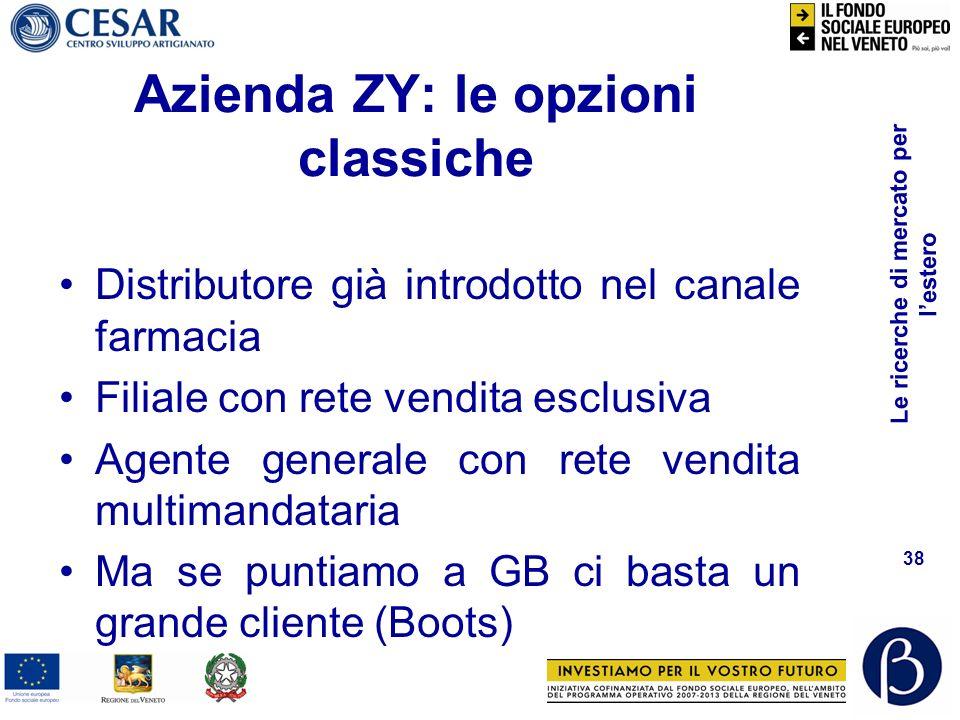 Le ricerche di mercato per lestero 37 Azienda ZY Produce cosmetici speciali per farmacie Approccio global marketing
