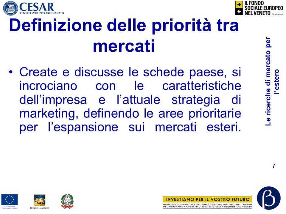 Reperire ricerche esistenti Grandi database a pagamento: –www.databank.it (italiano)www.databank.it –www.imrmall.comwww.imrmall.com –http://www.researchandmarkets.com/http://www.researchandmarkets.com/ –http://www.marketresearch.com/http://www.marketresearch.com/ –http://www.rncos.com/http://www.rncos.com/ –http://www.marketsmonitor.com/http://www.marketsmonitor.com/ –www.dialog.comwww.dialog.com –http://www.internationalbusinessstrategies.comhttp://www.internationalbusinessstrategies.com –http://www.marketresearchworld.net/index.phphttp://www.marketresearchworld.net/index.php –http://www.informestconsulting.it/index/banca-mondialehttp://www.informestconsulting.it/index/banca-mondiale