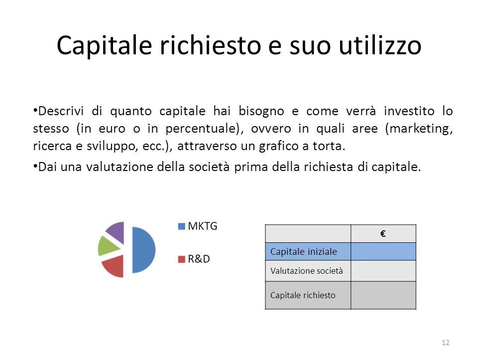 Capitale richiesto e suo utilizzo Descrivi di quanto capitale hai bisogno e come verrà investito lo stesso (in euro o in percentuale), ovvero in quali aree (marketing, ricerca e sviluppo, ecc.), attraverso un grafico a torta.