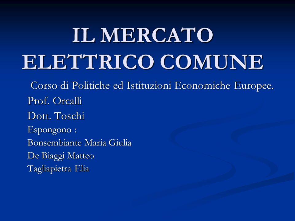 IL MERCATO ELETTRICO COMUNE Corso di Politiche ed Istituzioni Economiche Europee.