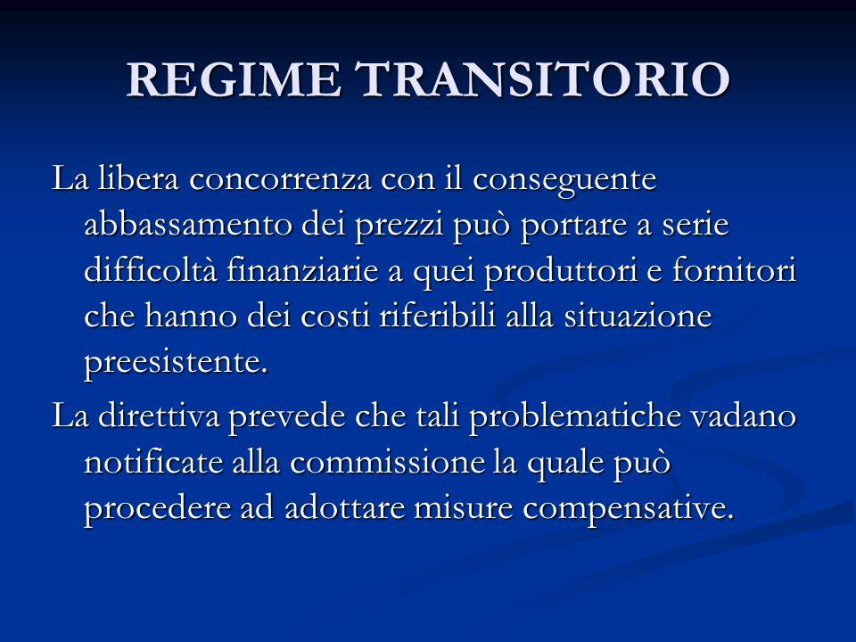 REGIME TRANSITORIO La libera concorrenza con il conseguente abbassamento dei prezzi può portare a serie difficoltà finanziarie a quei produttori e fornitori che hanno dei costi riferibili alla situazione preesistente.