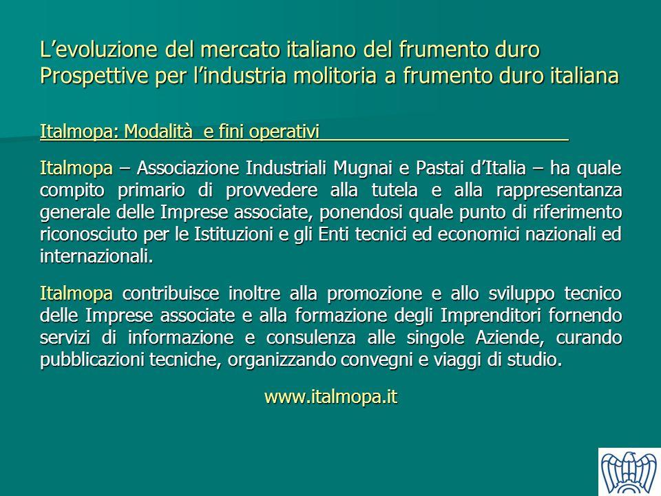 Levoluzione del mercato italiano del frumento duro Prospettive per lindustria molitoria a frumento duro italiana Italmopa: Modalità e fini operativi I