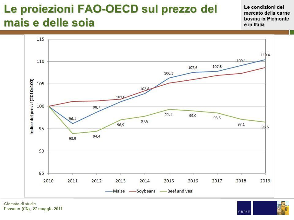 Le condizioni del mercato della carne bovina in Piemonte e in Italia Giornata di studio Fossano (CN), 27 maggio 2011 Le proiezioni FAO-OECD sul prezzo