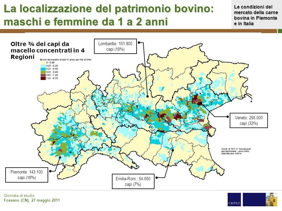 Le condizioni del mercato della carne bovina in Piemonte e in Italia Giornata di studio Fossano (CN), 27 maggio 2011 La localizzazione del patrimonio