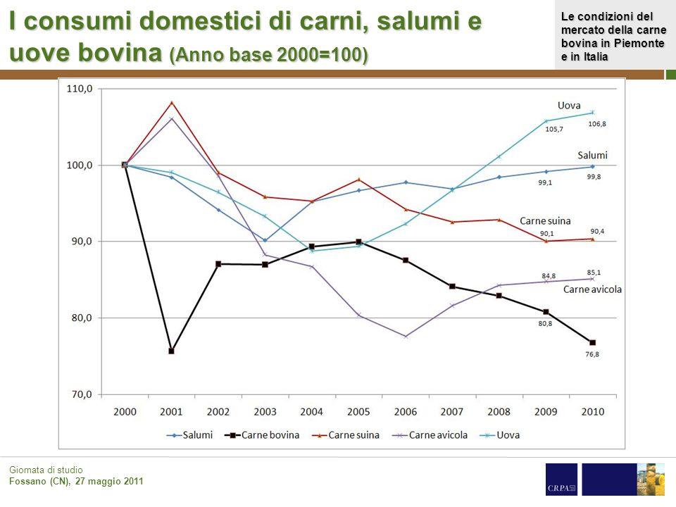 Le condizioni del mercato della carne bovina in Piemonte e in Italia Giornata di studio Fossano (CN), 27 maggio 2011 I consumi domestici di carni, sal