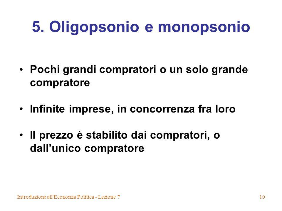 Introduzione all'Economia Politica - Lezione 710 5. Oligopsonio e monopsonio Pochi grandi compratori o un solo grande compratore Infinite imprese, in