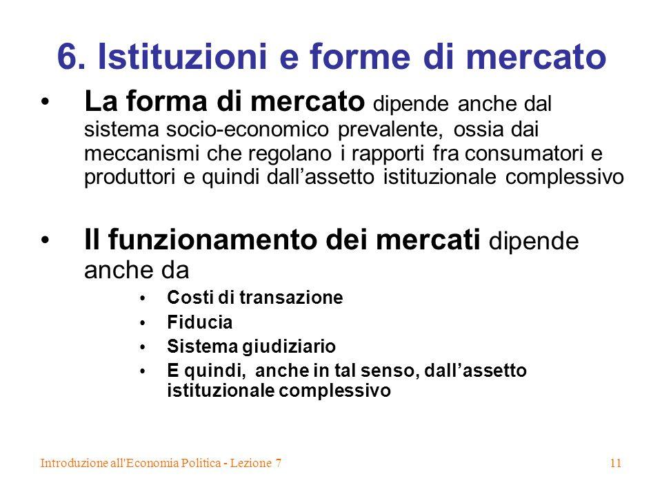Introduzione all'Economia Politica - Lezione 711 6. Istituzioni e forme di mercato La forma di mercato dipende anche dal sistema socio-economico preva