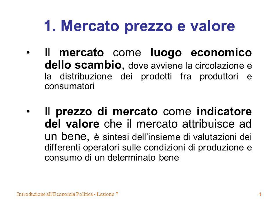 Introduzione all'Economia Politica - Lezione 74 1. Mercato prezzo e valore Il mercato come luogo economico dello scambio, dove avviene la circolazione