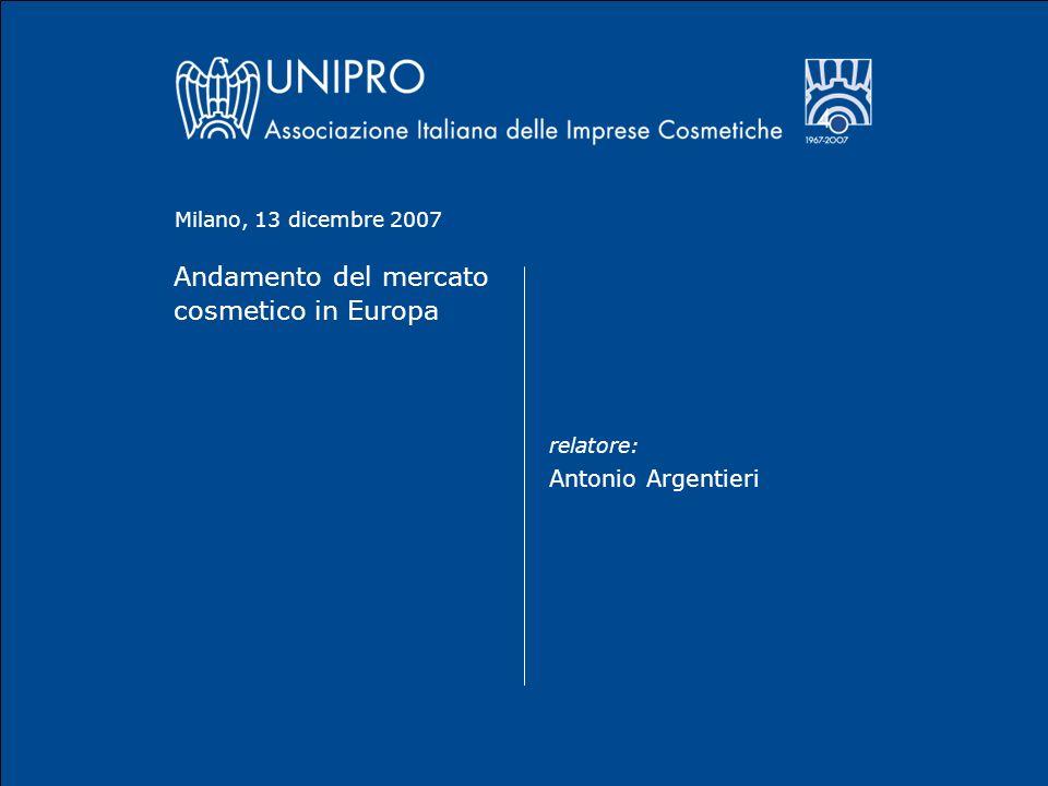 Andamento del mercato cosmetico in Europa relatore: Antonio Argentieri Milano, 13 dicembre 2007