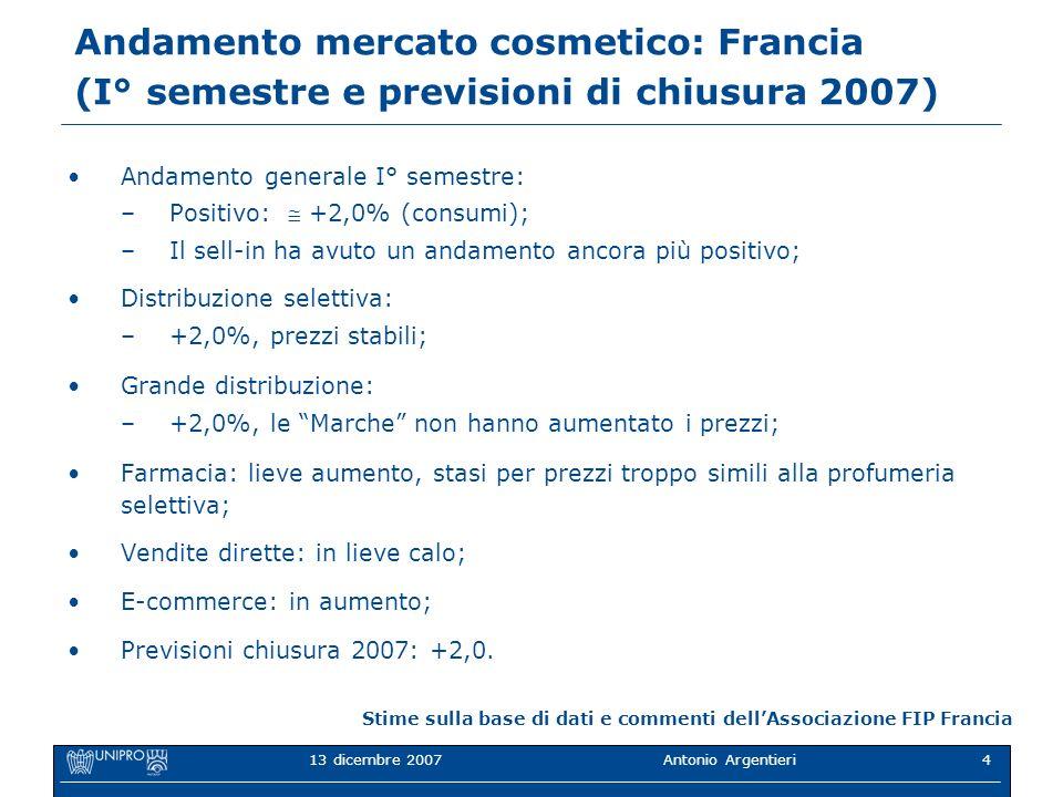 13 dicembre 2007Antonio Argentieri4 Andamento mercato cosmetico: Francia (I° semestre e previsioni di chiusura 2007) Andamento generale I° semestre: –
