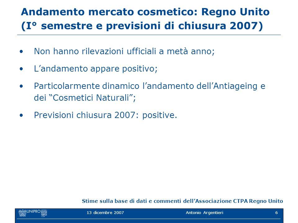 13 dicembre 2007Antonio Argentieri6 Andamento mercato cosmetico: Regno Unito (I° semestre e previsioni di chiusura 2007) Non hanno rilevazioni ufficia