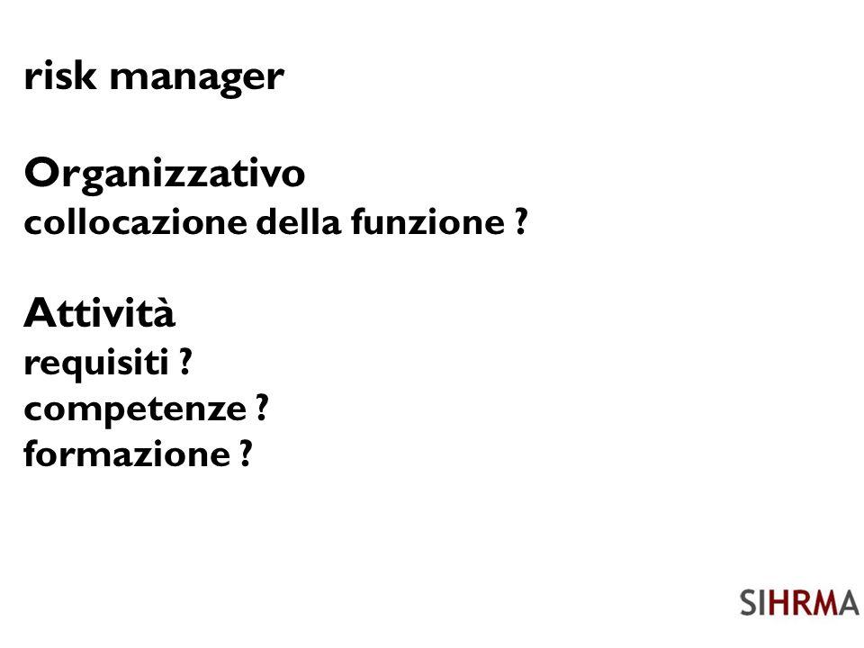 risk manager Organizzativo collocazione della funzione .