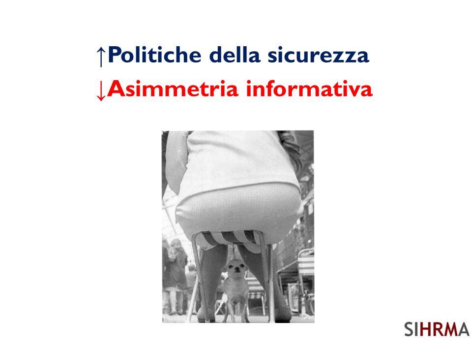 Politiche della sicurezza Asimmetria informativa