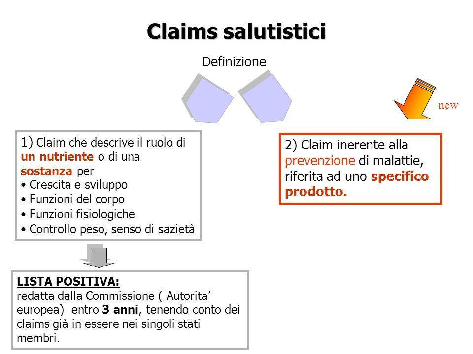 Claims salutistici Definizione 1) Claim che descrive il ruolo di un nutriente o di una sostanza per Crescita e sviluppo Funzioni del corpo Funzioni fi