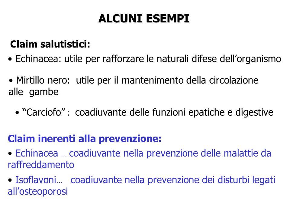 ALCUNI ESEMPI Echinacea … coadiuvante nella prevenzione delle malattie da raffreddamento Isoflavoni … coadiuvante nella prevenzione dei disturbi legat