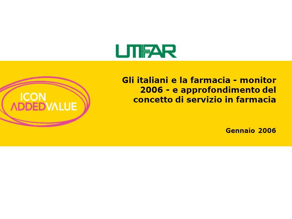Gennaio 2006 Gli italiani e la farmacia - monitor 2006 - e approfondimento del concetto di servizio in farmacia