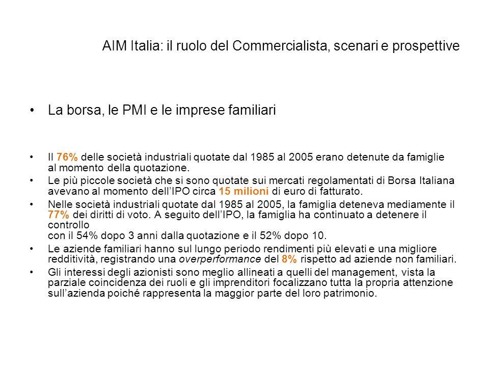 AIM Italia: il ruolo del Commercialista, scenari e prospettive La borsa, le PMI e le imprese familiari Il 76% delle società industriali quotate dal 19