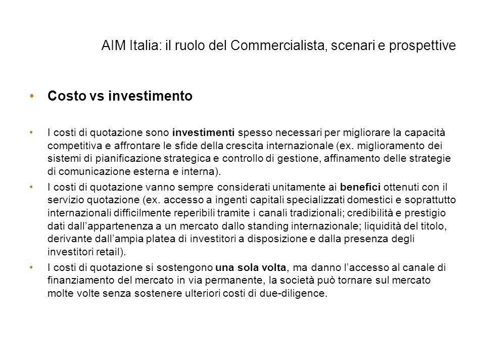 AIM Italia: il ruolo del Commercialista, scenari e prospettive Costo vs investimento I costi di quotazione sono investimenti spesso necessari per migl