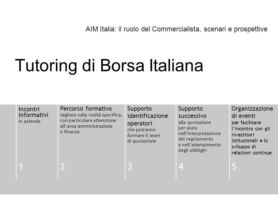 Tutoring di Borsa Italiana Incontri informativi in azienda Percorso formativo tagliato sulla realtà specifica, con particolare attenzione allarea ammi