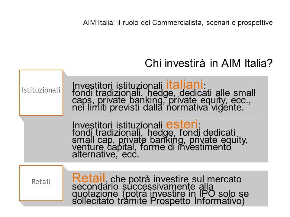 Istituzionali Chi investirà in AIM Italia? Investitori istituzionali italiani : fondi tradizionali, hedge, dedicati alle small caps, private banking,