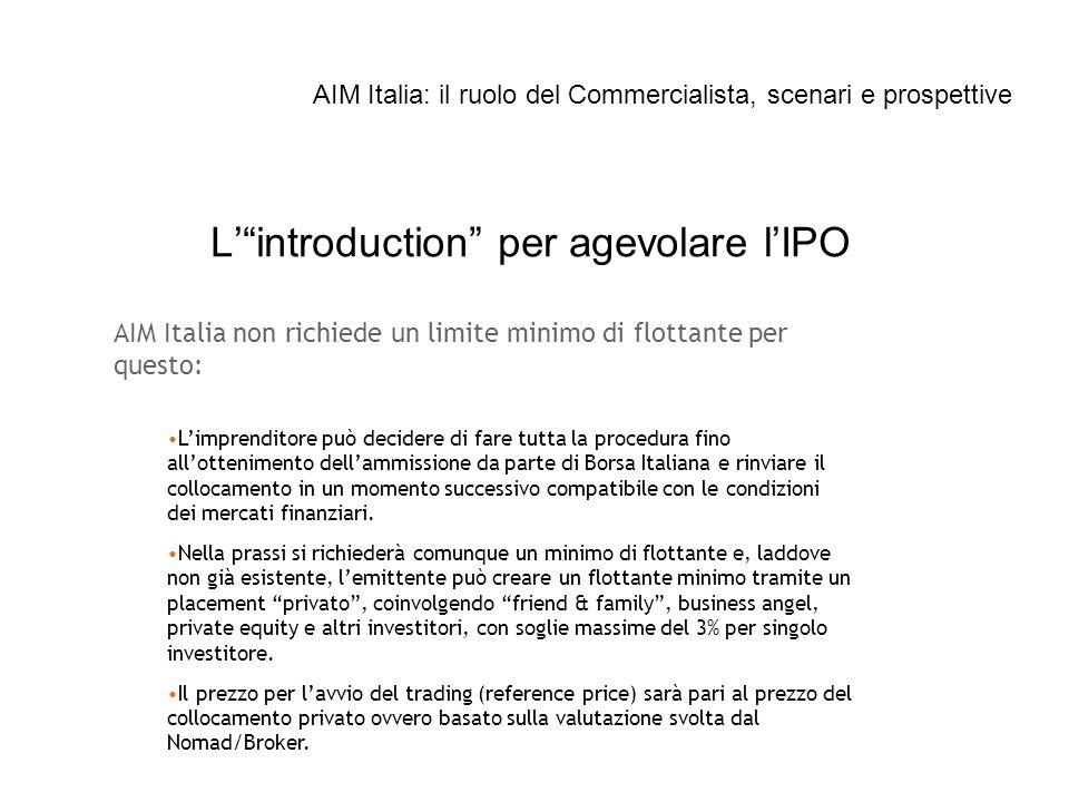 Lintroduction per agevolare lIPO AIM Italia non richiede un limite minimo di flottante per questo: Limprenditore può decidere di fare tutta la procedu