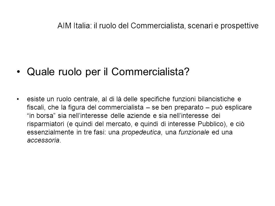 AIM Italia: il ruolo del Commercialista, scenari e prospettive Quale ruolo per il Commercialista? esiste un ruolo centrale, al di là delle specifiche