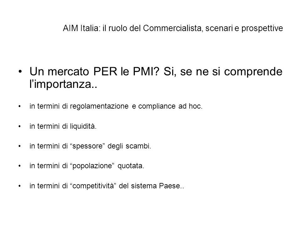 AIM Italia: il ruolo del Commercialista, scenari e prospettive Un mercato PER le PMI? Si, se ne si comprende limportanza.. in termini di regolamentazi