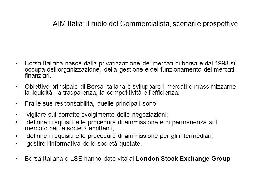 AIM Italia: il ruolo del Commercialista, scenari e prospettive Borsa Italiana nasce dalla privatizzazione dei mercati di borsa e dal 1998 si occupa de