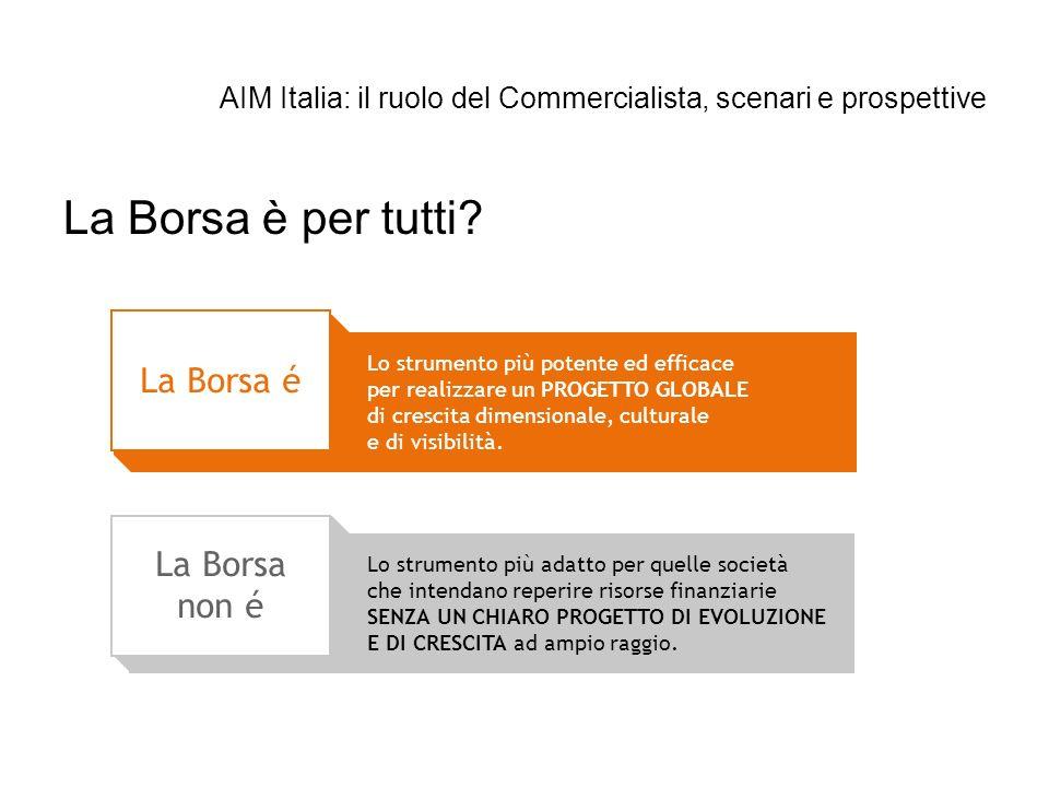 AIM Italia: il ruolo del Commercialista, scenari e prospettive La Borsa é Lo strumento più potente ed efficace per realizzare un PROGETTO GLOBALE di c