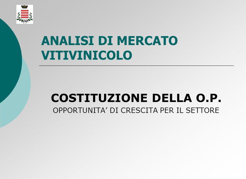 ANALISI DI MERCATO VITIVINICOLO COSTITUZIONE DELLA O.P. OPPORTUNITA DI CRESCITA PER IL SETTORE