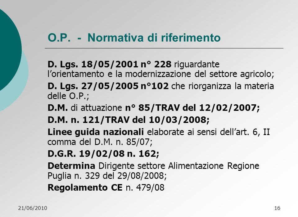 21/06/201016 O.P.- Normativa di riferimento D. Lgs.