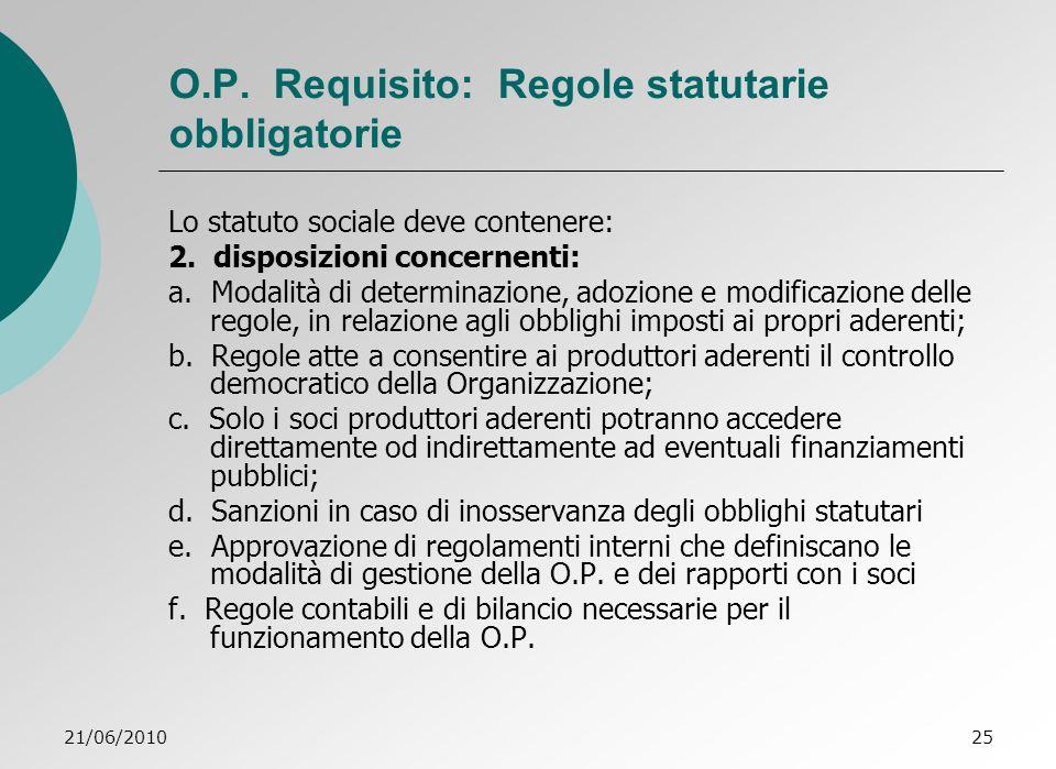 21/06/201025 O.P.Requisito: Regole statutarie obbligatorie Lo statuto sociale deve contenere: 2.