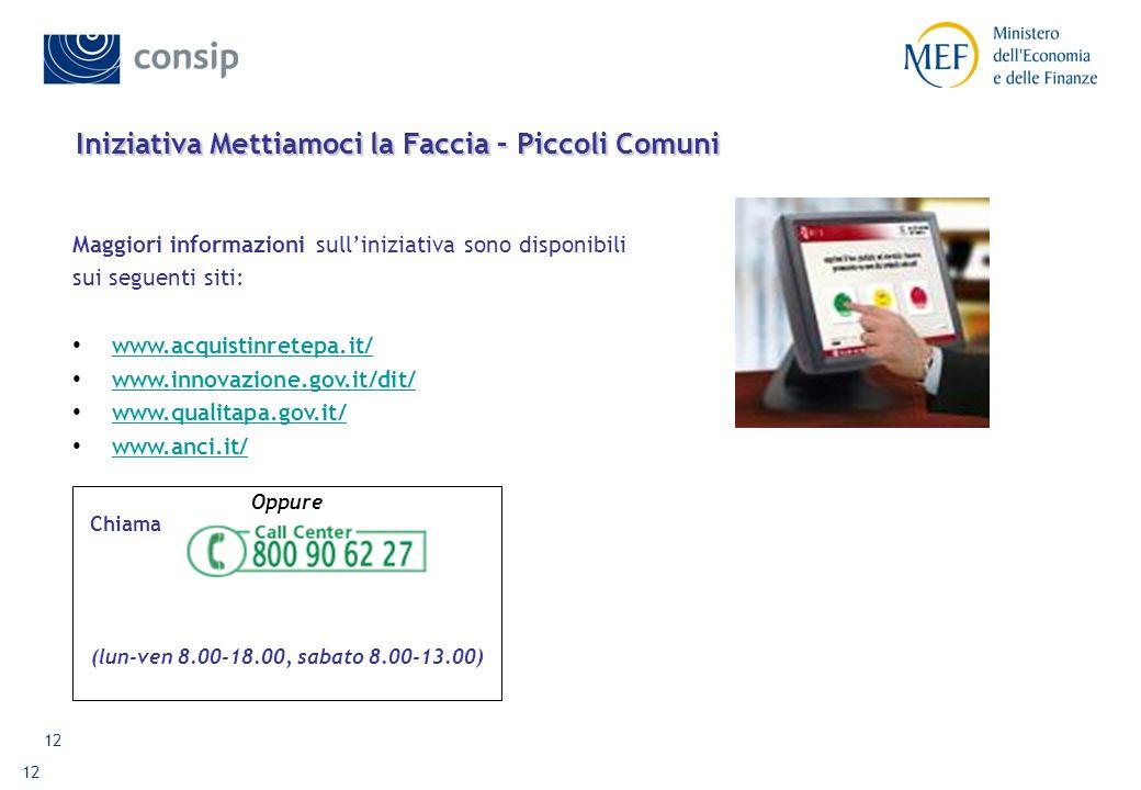 12 Iniziativa Mettiamoci la Faccia – Piccoli Comuni Maggiori informazioni sulliniziativa sono disponibili sui seguenti siti: www.acquistinretepa.it/ w
