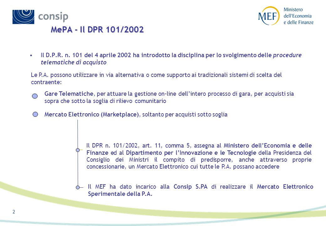 2 Il D.P.R. n. 101 del 4 aprile 2002 ha introdotto la disciplina per lo svolgimento delle procedure telematiche di acquisto MePA - Il DPR 101/2002 Le
