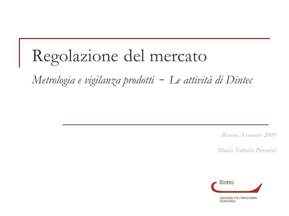 Regolazione del mercato Metrologia e vigilanza prodotti - Le attività di Dintec Roma, 3 marzo 2009 Maria Valeria Pennisi
