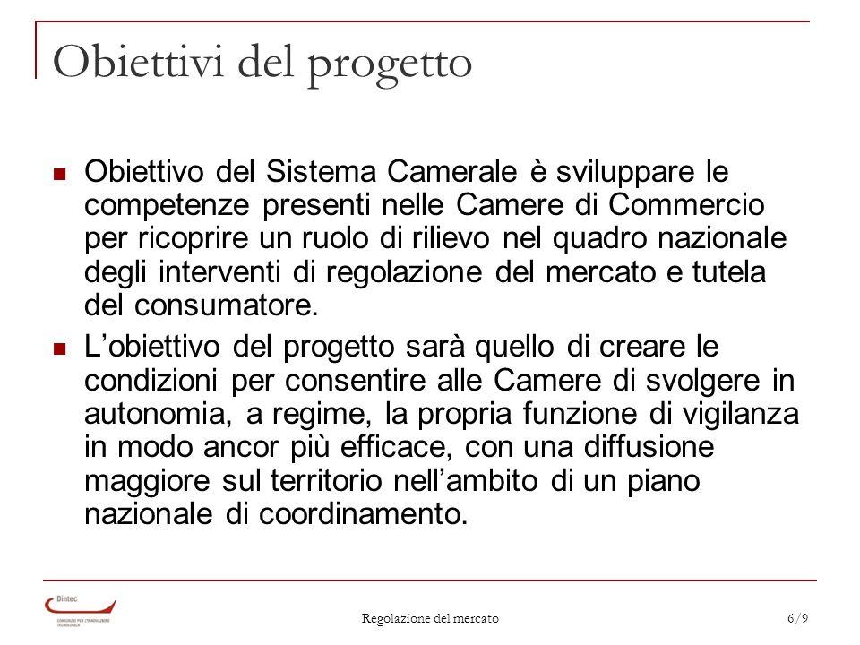 Regolazione del mercato 6/9 Obiettivi del progetto Obiettivo del Sistema Camerale è sviluppare le competenze presenti nelle Camere di Commercio per ricoprire un ruolo di rilievo nel quadro nazionale degli interventi di regolazione del mercato e tutela del consumatore.