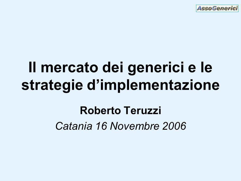 Il mercato dei generici e le strategie dimplementazione Roberto Teruzzi Catania 16 Novembre 2006