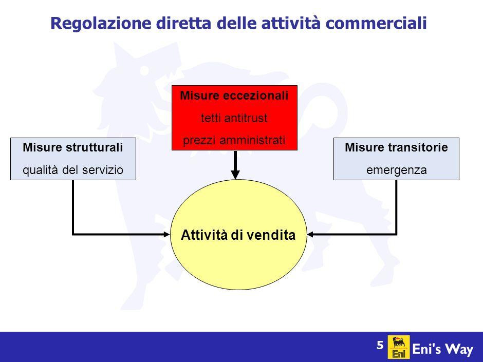 5 Attività di vendita Regolazione diretta delle attività commerciali Misure strutturali qualità del servizio Misure transitorie emergenza Misure eccezionali tetti antitrust prezzi amministrati