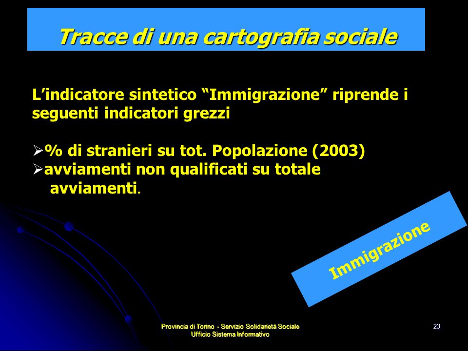 Provincia di Torino - Servizio Solidarietà Sociale Ufficio Sistema Informativo 23 Immigrazione Tracce di una cartografia sociale Lindicatore sintetico Immigrazione riprende i seguenti indicatori grezzi % di stranieri su tot.