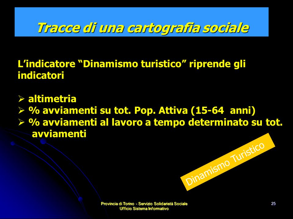 Provincia di Torino - Servizio Solidarietà Sociale Ufficio Sistema Informativo 25 Lindicatore Dinamismo turistico riprende gli indicatori altimetria % avviamenti su tot.