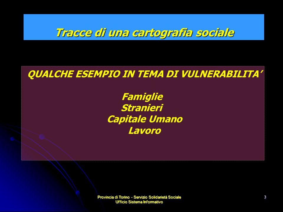 Provincia di Torino - Servizio Solidarietà Sociale Ufficio Sistema Informativo 4 Le famiglie monogenitoriali