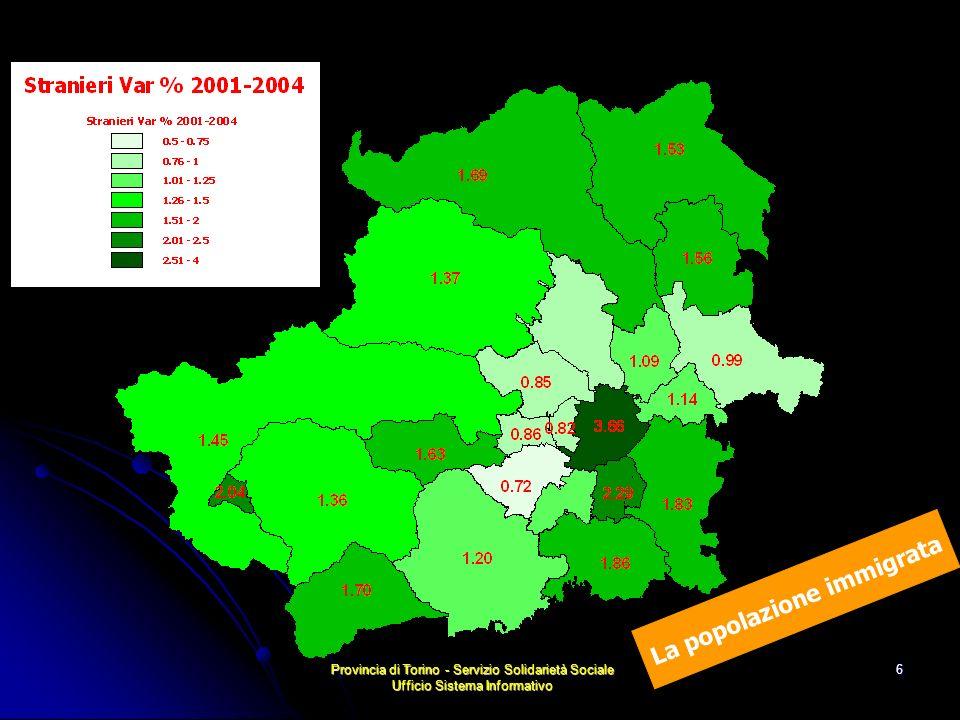 Provincia di Torino - Servizio Solidarietà Sociale Ufficio Sistema Informativo 17 Capitale Umano e reddito Lindicatore Capitale umano e reddito riprende gli indicatori grezzi relativi al grado di istruzione - non conseguimento dellobbligo scolastico - possesso di diploma superiore nella popolazione 35- 64 anni, indice di disuguaglianza di Gini sui redditi 2002 Tracce di una cartografia sociale