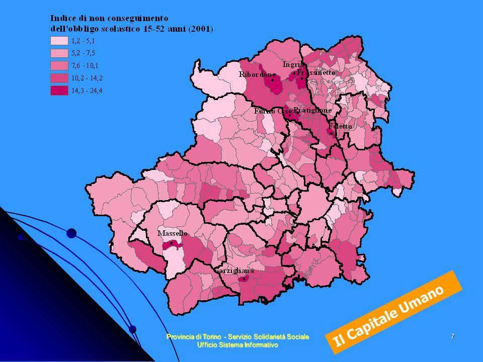 Provincia di Torino - Servizio Solidarietà Sociale Ufficio Sistema Informativo 18 Capitale Umano e reddito 0,72 - 4,13 0,26 - 0,72 -0,30 - 0,25 -0,76 - -0,31 -3,39 - -0,77
