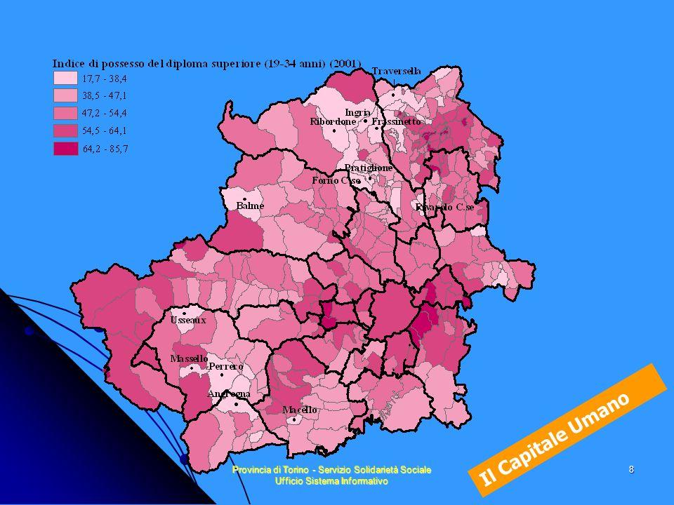 Provincia di Torino - Servizio Solidarietà Sociale Ufficio Sistema Informativo 19 Dinamismo Demografico Tracce di una cartografia sociale Lindicatore Dinamismo Demografico riprende gli indicatori relativi % di popolazione minore/uguale ai 3 anni % di popolazione maggiore/uguale ai 75 anni composizione delle famiglie indice di dipendenza globale (rapporto =75) 30-59